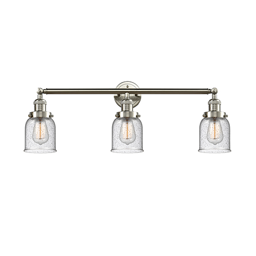 Innovations Lighting Small Bell Brushed Satin Nickel Three-Light Reversible Bath Vanity with Seedy Bell Glass