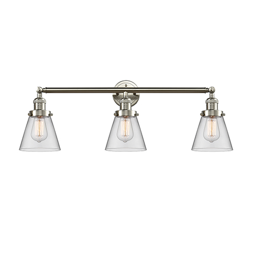 Innovations Lighting Small Cone Brushed Satin Nickel Three-Light Reversible Bath Vanity with Clear Cone Glass