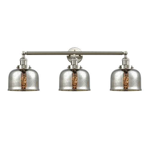 Large Bell Brushed Satin Nickel Three-Light Adjustable Bath Vanity