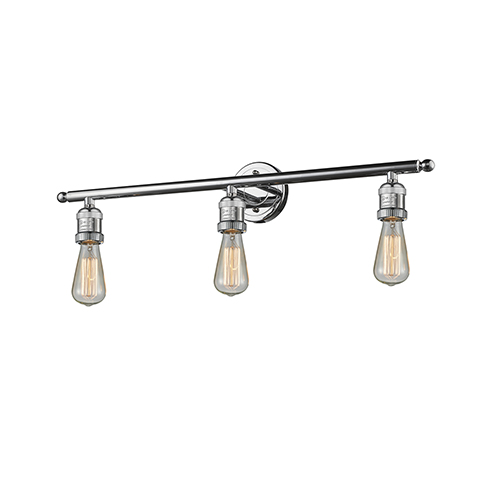 Innovations Lighting Bare Bulb Polished Chrome Three-Light Reversible Bath Vanity
