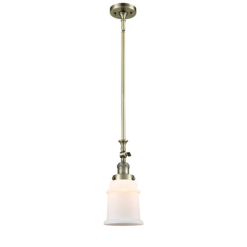 Canton Antique Brass One-Light Hang Straight Swivel Mini Pendant with Matte White Glass