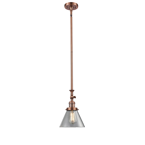 Large Cone Antique Copper 14-Inch LED Mini Pendant with Clear Cone Glass