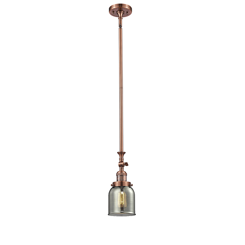 Innovations Lighting Small Bell Antique Copper 14-Inch One-Light Mini Pendant with Smoked Bell Glass