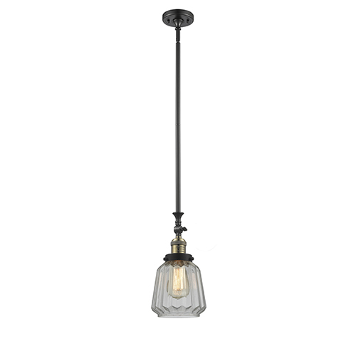 Innovations Lighting Chatham Black Antique Brass 14-Inch One-Light Mini Pendant with Clear Fluted Novelty Glass
