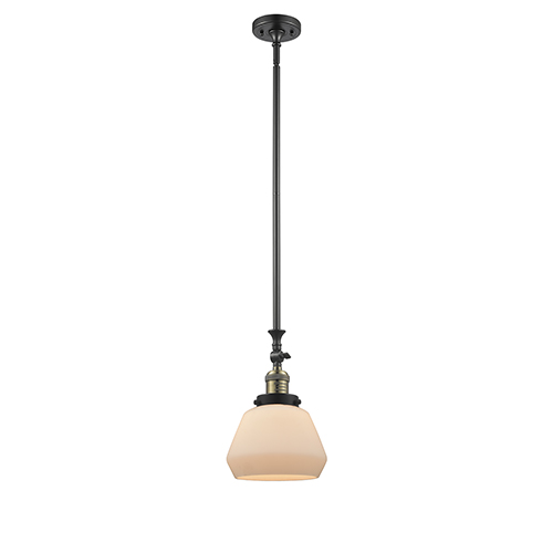Innovations Lighting Fulton Black Antique Brass 14-Inch One-Light Mini Pendant with Matte White Cased Sphere Glass