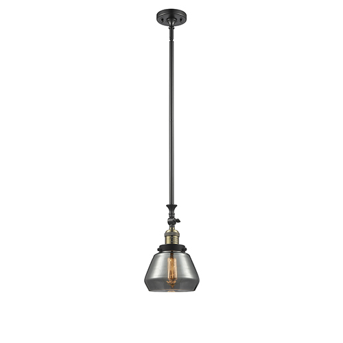 Innovations Lighting Fulton Black Antique Brass 14-Inch One-Light Mini Pendant with Smoked Sphere Glass