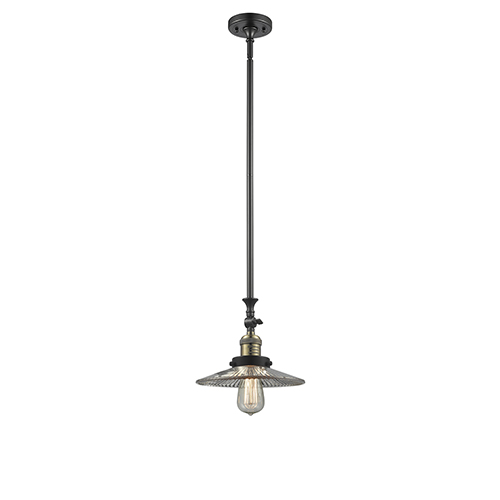 Innovations Lighting Halophane Black Antique Brass 12-Inch One-Light Mini Pendant with Halophane Cone Glass