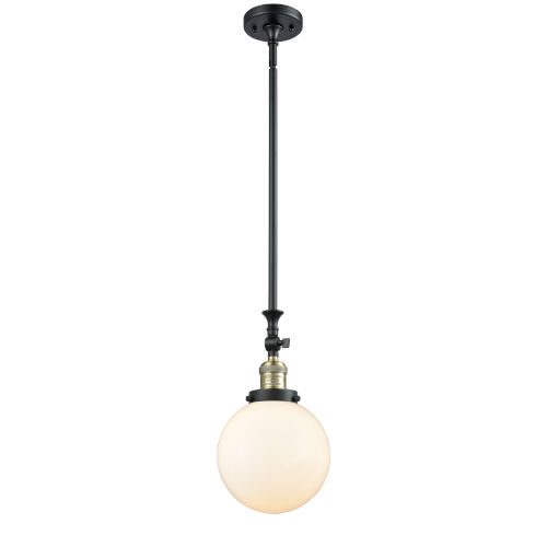 Franklin Restoration Black Antique Brass Eight-Inch LED Mini Pendant with Matte White Cased Beacon Shade and Wire