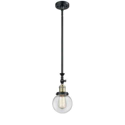 Franklin Restoration Black Antique Brass Six-Inch One-Light Mini Pendant with Clear Beacon Shade and Wire