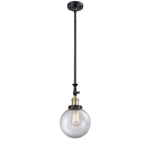 Franklin Restoration Black Antique Brass Eight-Inch One-Light Mini Pendant with Clear Beacon Shade and Wire