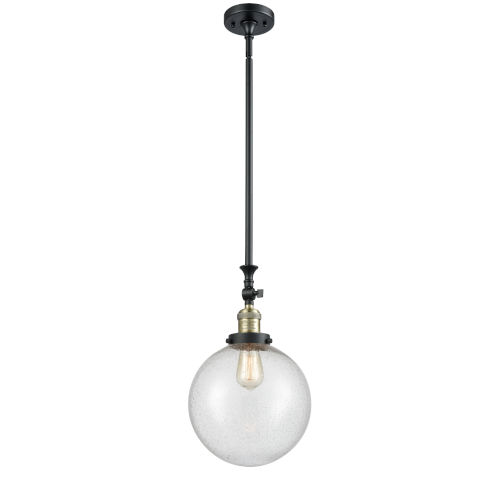 Franklin Restoration Black Antique Brass 10-Inch One-Light Pendant with Seedy Beacon Shade and Wire