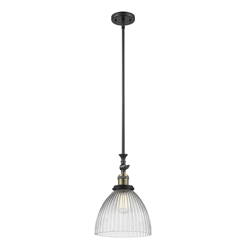 Innovations Lighting Seneca Falls Black Antique Brass LED Mini Pendant with Clear Dome Glass