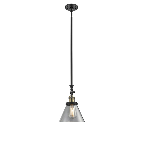 Innovations Lighting Large Cone Black Antique Brass 14-Inch One-Light Mini Pendant with Clear Cone Glass