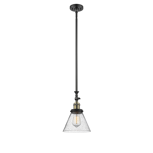 Large Cone Black Antique Brass 14-Inch LED Mini Pendant with Seedy Cone Glass
