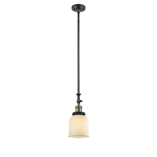 Innovations Lighting Small Bell Black Antique Brass 14-Inch One-Light Mini Pendant with Matte White Cased Bell Glass
