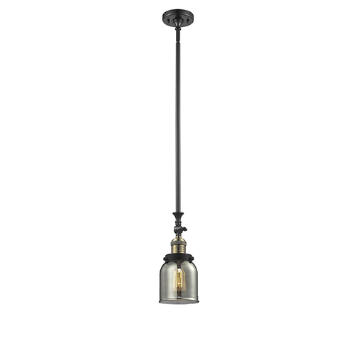 Innovations Lighting Small Bell Black Antique Brass 14-Inch LED Mini Pendant with Smoked Bell Glass