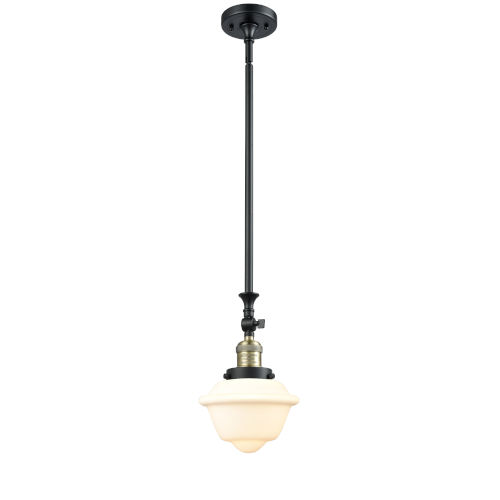 Franklin Restoration Black Antique Brass Eight-Inch LED Mini Pendant with Matte White Cased Small Oxford Shade and Wire
