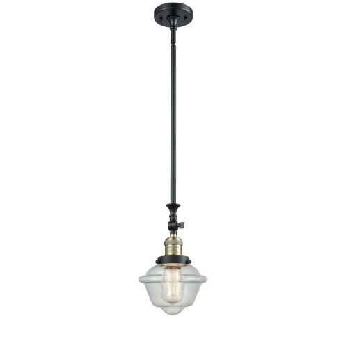 Franklin Restoration Black Antique Brass Eight-Inch LED Mini Pendant with Seedy Small Oxford Shade and Wire