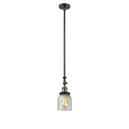 Innovations Lighting Small Bell Black Antique Brass 14-Inch One-Light Mini Pendant with Seedy Bell Glass
