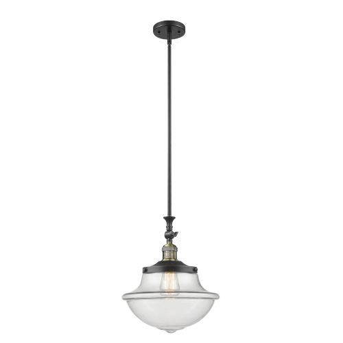 Franklin Restoration Black Antique Brass 12-Inch One-Light Pendant with Clear Large Oxford Shade and Wire