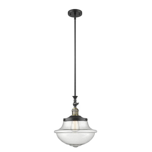 Franklin Restoration Black Antique Brass 12-Inch One-Light Pendant with Seedy Large Oxford Shade and Wire