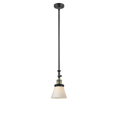 Innovations Lighting Small Cone Black Antique Brass 14-Inch One-Light Mini Pendant with Matte White Cased Cone Glass