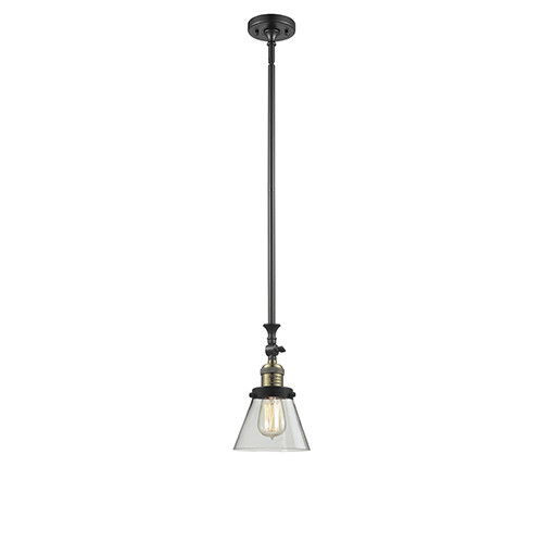 Innovations Lighting Small Cone Black Antique Brass 14-Inch LED Mini Pendant with Clear Cone Glass