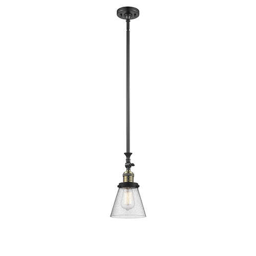 Innovations Lighting Small Cone Black Antique Brass 14-Inch LED Mini Pendant with Seedy Cone Glass