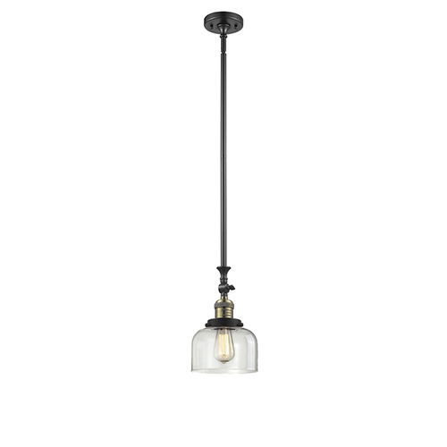 Innovations Lighting Large Bell Black Antique Brass 14-Inch One-Light Mini Pendant with Clear Dome Glass