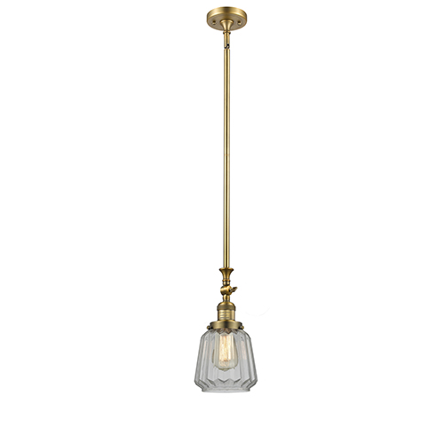 Innovations Lighting Chatham Brushed Brass 14-Inch LED Mini Pendant with Clear Fluted Novelty Glass