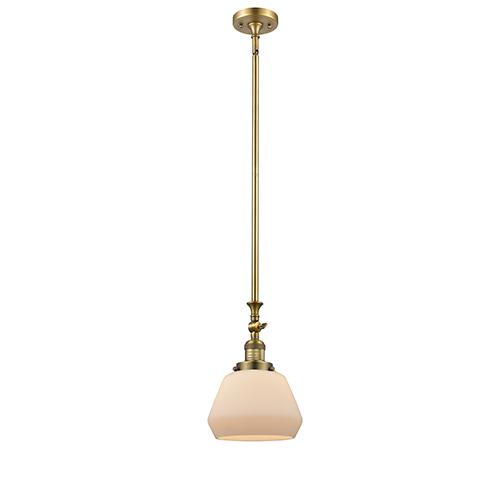 Innovations Lighting Fulton Brushed Brass 14-Inch LED Mini Pendant with Matte White Cased Sphere Glass