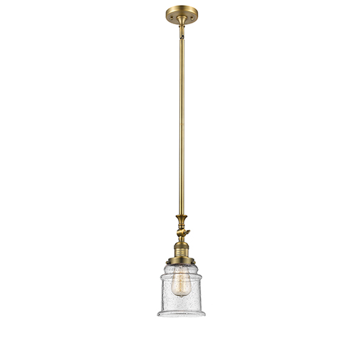 Innovations Lighting Canton Brushed Brass 14-Inch LED Mini Pendant with Seedy Bell Glass