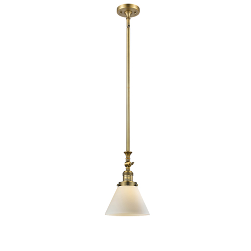 Innovations Lighting Large Cone Brushed Brass 14-Inch LED Mini Pendant with Matte White Cased Cone Glass