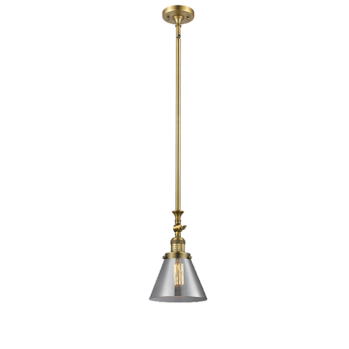 Innovations Lighting Large Cone Brushed Brass 14-Inch LED Mini Pendant with Smoked Cone Glass