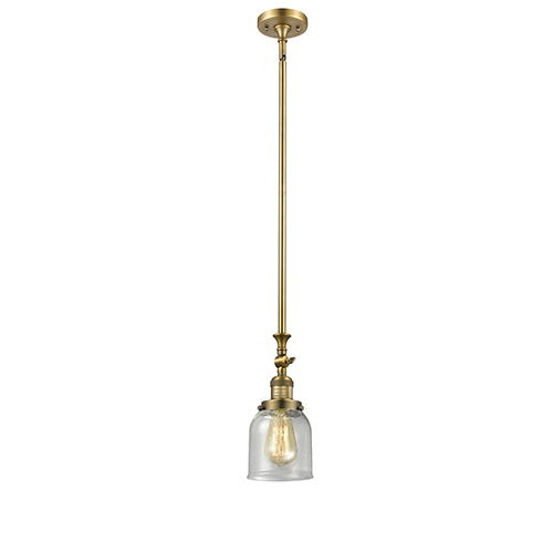 Small Bell Brushed Brass 14-Inch One-Light Mini Pendant with Seedy Bell Glass