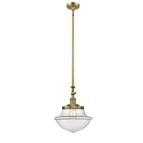 Oxford School House Brushed Brass 15-Inch One-Light Pendant with Clear Bell Glass