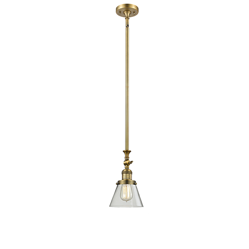 Innovations Lighting Small Cone Brushed Brass 14-Inch LED Mini Pendant with Clear Cone Glass