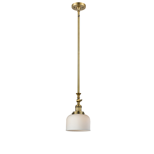 Innovations Lighting Large Bell Brushed Brass 14-Inch One-Light Mini Pendant with Matte White Cased Dome Glass