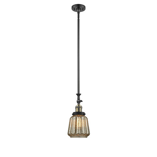 Innovations Lighting Chatham Black Brushed Brass 14-Inch One-Light Mini Pendant with Mercury Fluted Novelty Glass