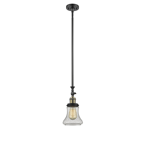 Innovations Lighting Bellmont Black Brushed Brass 14-Inch One-Light Mini Pendant with Seedy Hourglass Glass