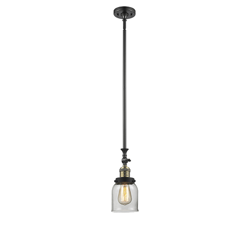 Innovations Lighting Small Bell Black Brushed Brass 14-Inch LED Mini Pendant with Clear Bell Glass