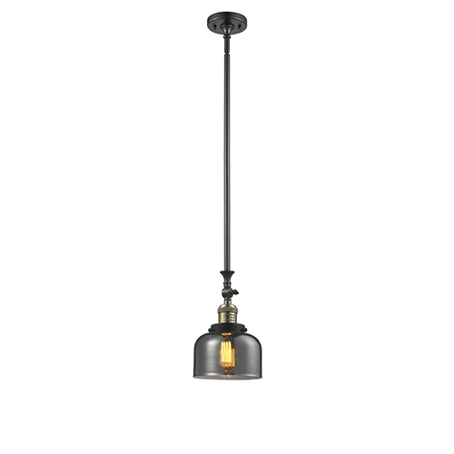 Innovations Lighting Large Bell Black Brushed Brass 14-Inch One-Light Mini Pendant with Smoked Dome Glass