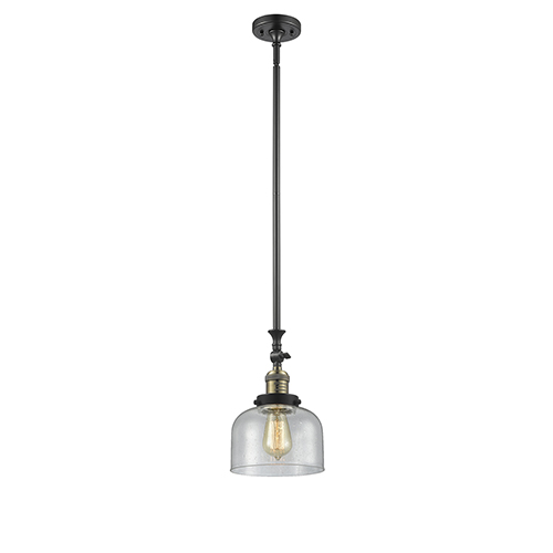 Innovations Lighting Large Bell Black Brushed Brass 14-Inch LED Mini Pendant with Seedy Dome Glass