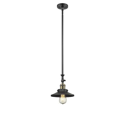 Innovations Lighting Railroad Black Brushed Brass 14-Inch LED Mini Pendant with Matte Black Metal Shade