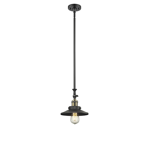 Innovations Lighting Railroad Black Brushed Brass 14-Inch One-Light Mini Pendant with Matte Black Metal Shade