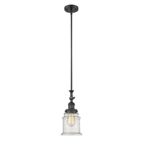 Canton Matte Black LED Mini Pendant with Seedy Glass