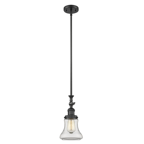Innovations Lighting Bellmont Black 14-Inch One-Light Mini Pendant with Clear Hourglass Glass