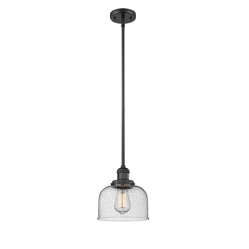 Innovations Lighting Large Bell Black 14-Inch One-Light Mini Pendant with Seedy Dome Glass