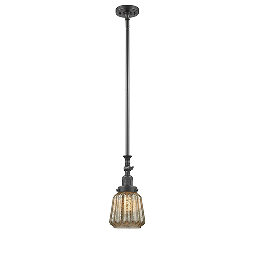 Innovations Lighting Chatham Oiled Rubbed Bronze 14-Inch LED Mini Pendant with Mercury Fluted Novelty Glass