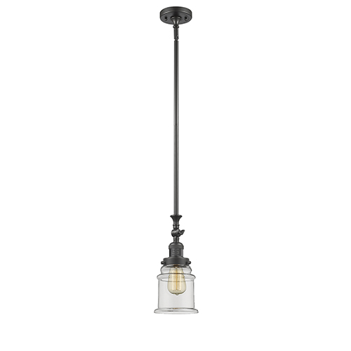 Innovations Lighting Canton Oiled Rubbed Bronze 14-Inch One-Light Mini Pendant with Clear Bell Glass